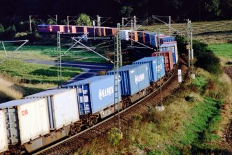 A containertrain on the 'Nord-Süd-Strecke' in Germany