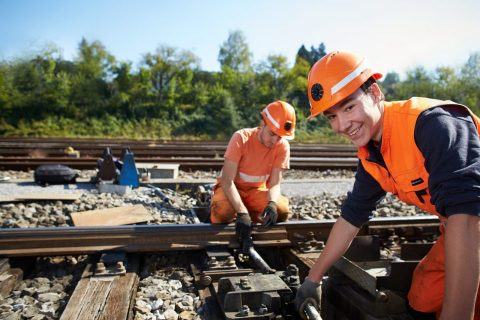 Construction work on Swiss railway. Photo: SBB