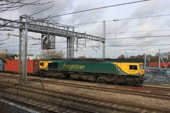 A Freightliner container train from Wentloog near Cardiff to Southampton. Photo credit: Geof Sheppard