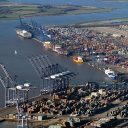 Aerial view of the Port of Felixstowe. Photo credit: John Fielding