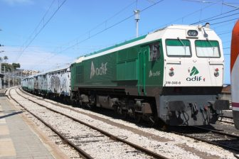 ADIF locomotive at Tarragona station