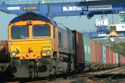 Rail freight at Port of Felixstowe. Source: Network Rail