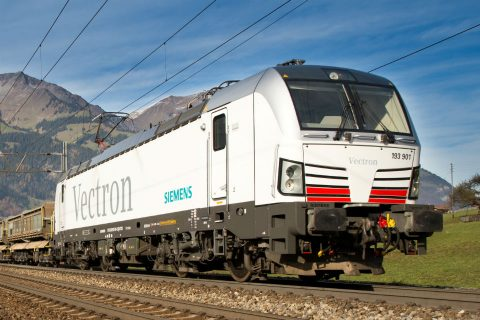 Vectron with load shortly after Kander Tunnel. Source: Siemens