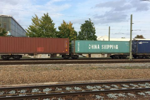 Freight train on the Silk Road