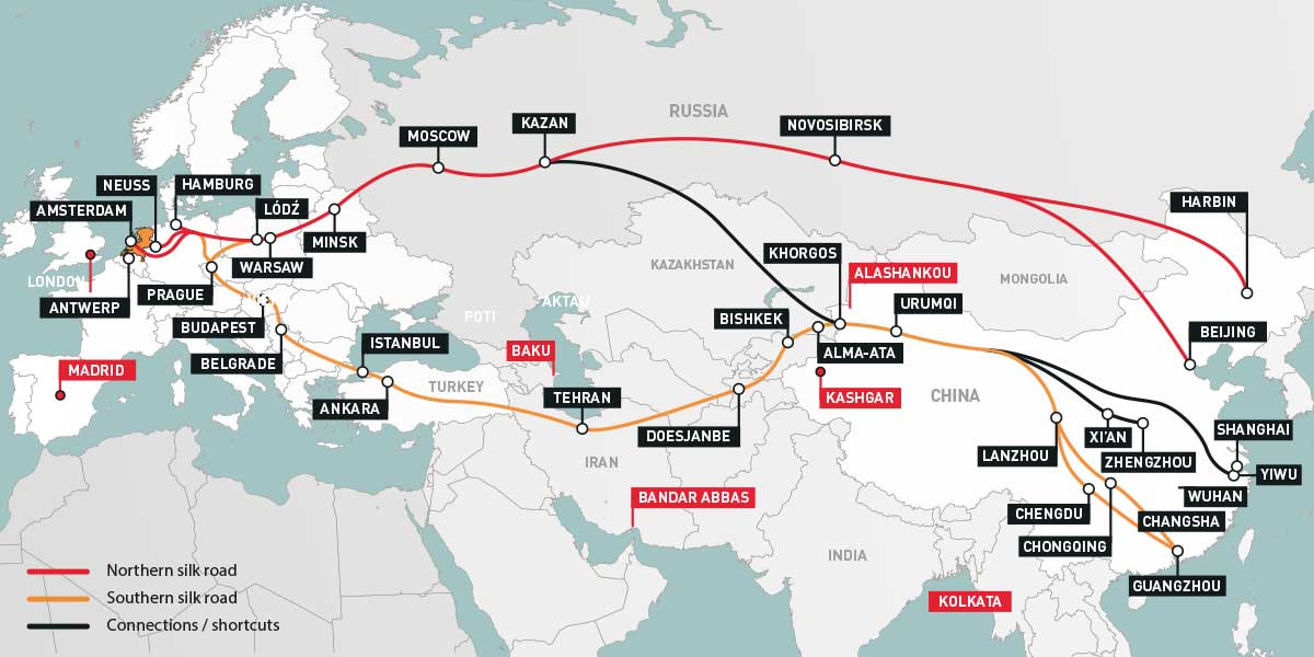 The Amsterdam-Yiwu and other Eurasian routes. Picture: Nunner