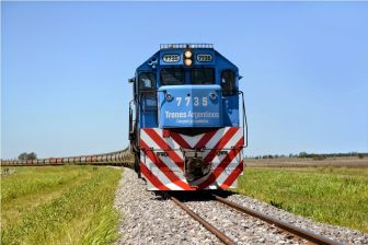 Rail freight train in Argentina