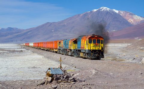 Freight train between Chile and Bolivia. Photo: David Gubler