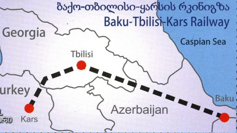 Stamp of Georgia with Baku-Tbilisi-Kars railway