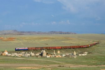 A freight train on transit through Kazakhstan. Photo: Wikimedia Commons