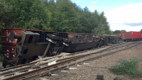 Derailed train between Birmingham New Street and Nuneaton. Photo: Network Rail