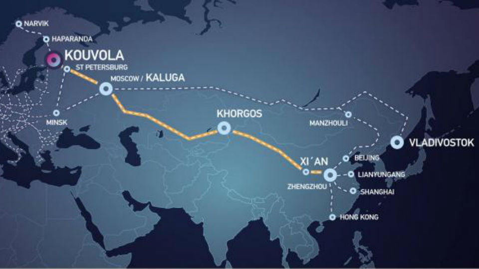Finland-China train route. Photo: Kouvola Innovation