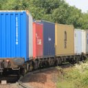 Trimley Branch Line container train leaving Felixstowe. Photo: Geof Sheppard