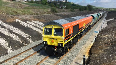 Freightliner cargo train using the new sidings in Buxton