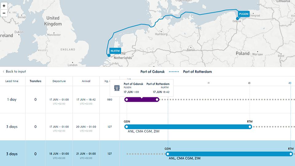 Gdansk - Rotterdam route, source: Port of Gdansk