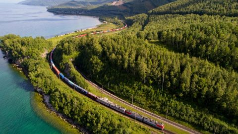 Russian container train near Lake Baikal, source: Russian Railways (RZD)