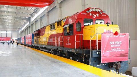 Zhuzhou Minsk container train, source: CRRC