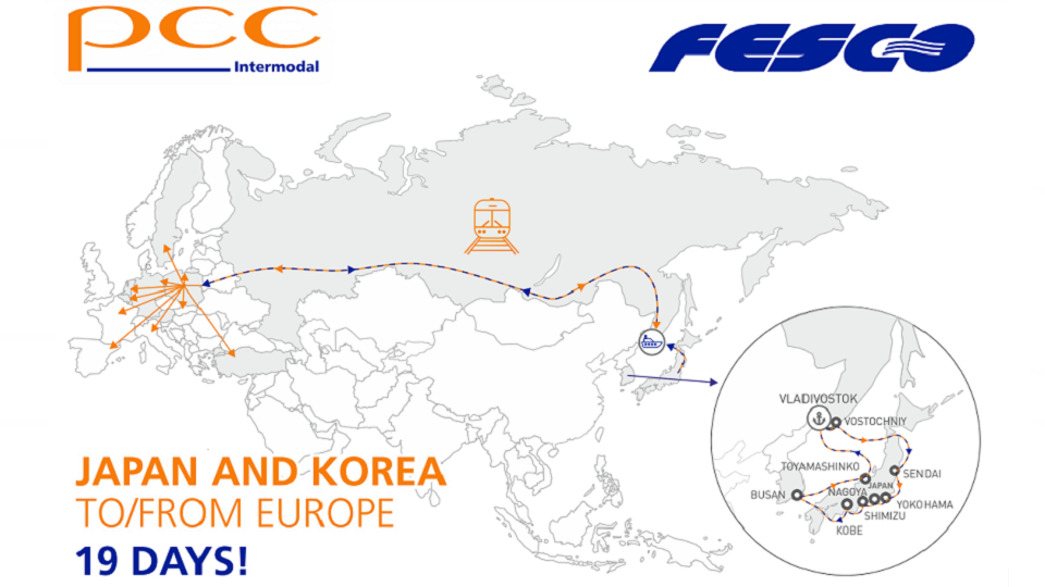 Japan/South Korea - Europe multimodal route, source: PCC Intermodal