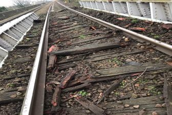 Rail Bridge and sleeper damage near Barking in London