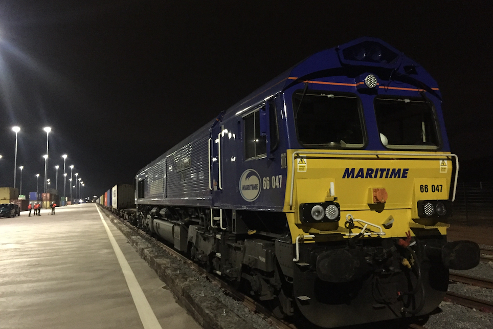 Diesel locomotive ready for nighttime