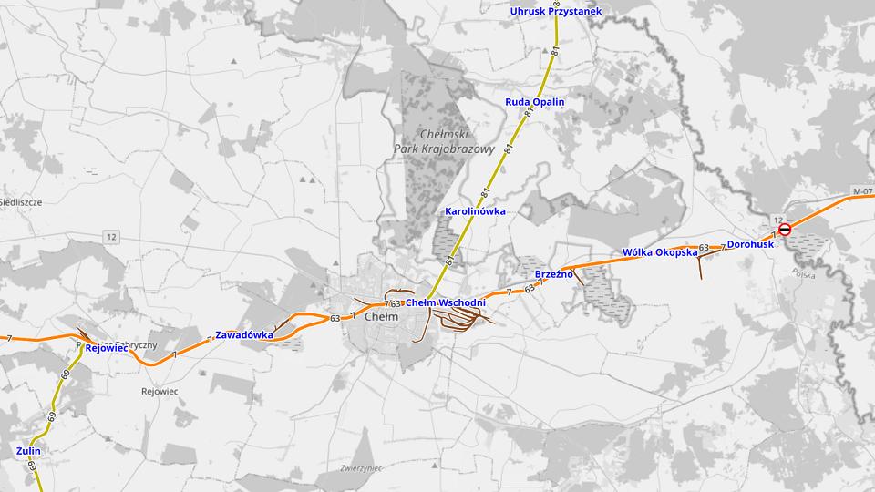 Map of Dorohusk - Zawadówka broad gauge railway