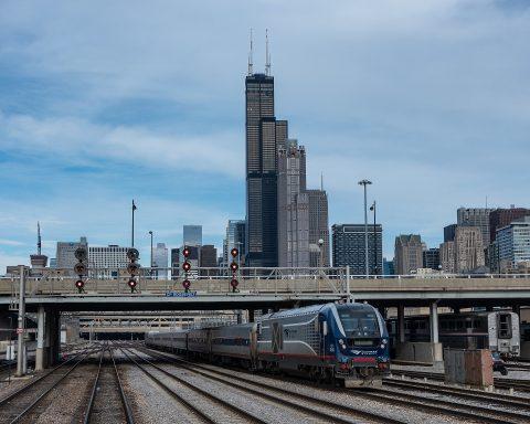Passenger train in Chicago
